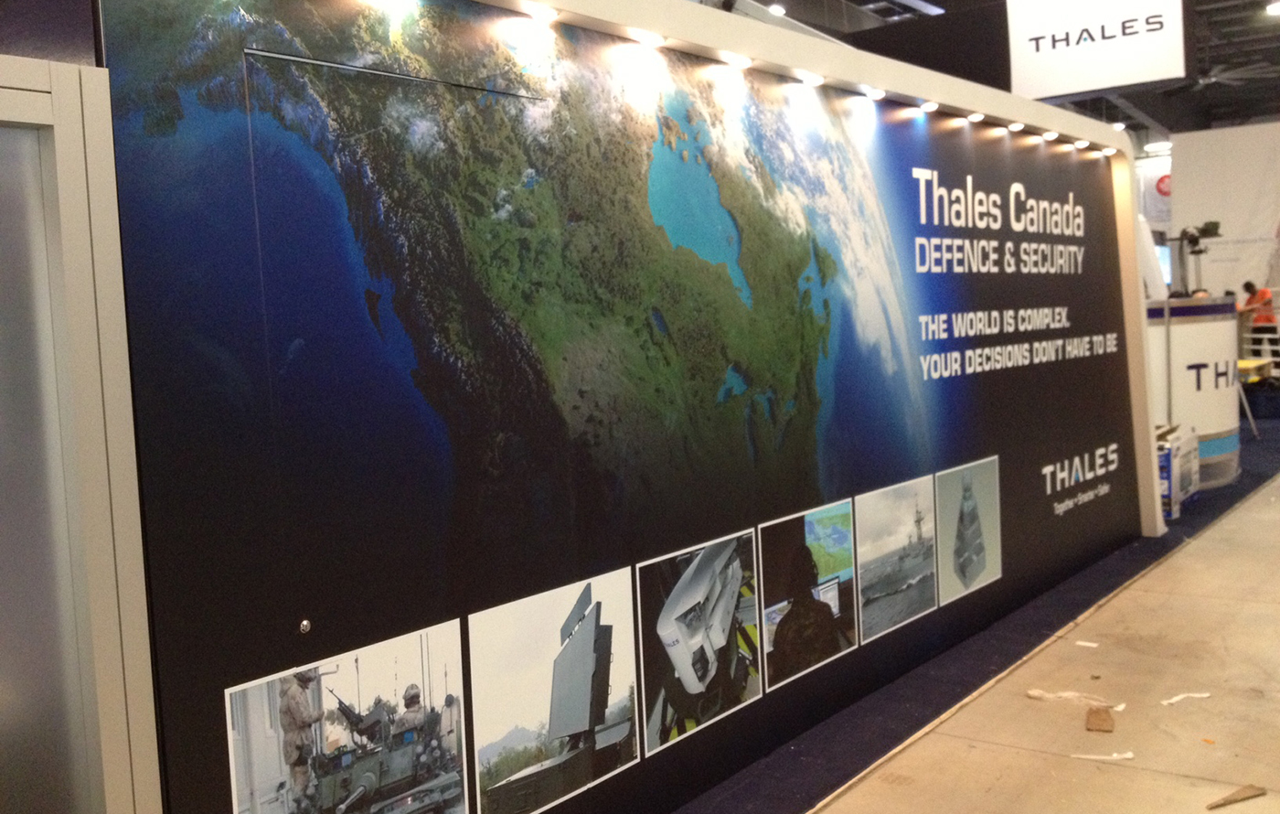 Warehouse Trade Show Booth : Cansec trade show booth thales canada expographiq